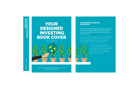 Blue Vector Concept Investing Book Cover With Money Growing On Trees
