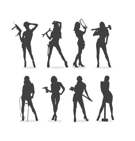 Sexy Construction Women Silhouette Set Vector illustration 矢量图像
