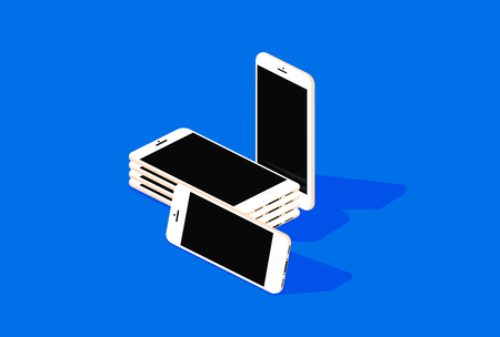 Isometric Vector Phones mockup On Blue Background  イラスト・ベクター素材