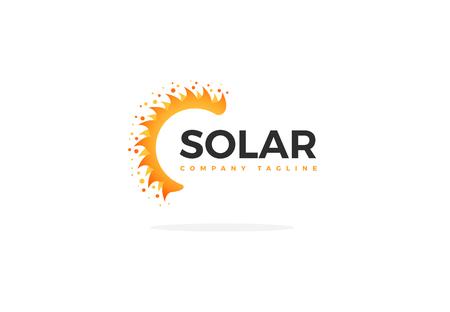 Gelbe Sonnenkollektor-Logo-Vektor-Halbsonnenform mit Slogan Logo