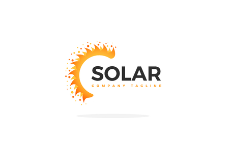 Yellow Solar Panel Logo Vector Half Sun Shape With Slogan