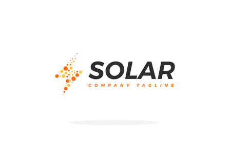 Yellow Orange Solar Panel Logo Vector In Shape Energy Power Icon