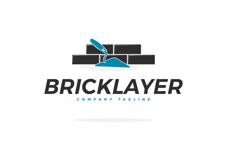 Bricklayer Vector Logo with Trowel and Brick Wall Çizim