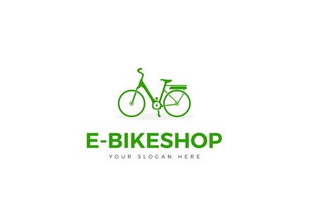 Green E-Bike Logo Silhouette Woman Bike Vector With Charging Icon Illustration