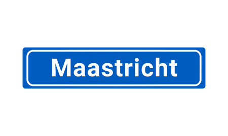 Blue And White Vector City Sign Of Maastricht In The Netherlands