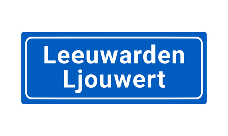 Blue And White Vector City Sign Of Leeuwarden In The Netherlands