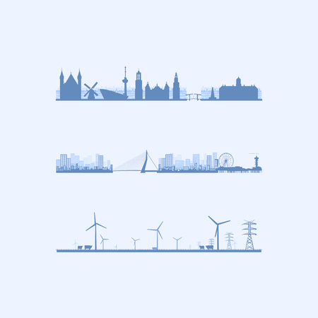 Blue Vector Skylines of The Netherlands. Dutch City, Rural and Famous Landmarks.