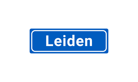 Blue And White Vector City Sign Of Leiden In The Netherlands
