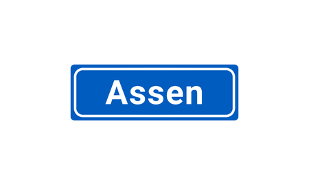 Blue And White Vector City Sign Of Assen In The Netherlands