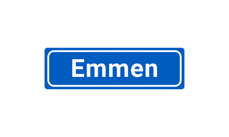 Blue And White Vector City Sign Of Emmen In The Netherlands  イラスト・ベクター素材