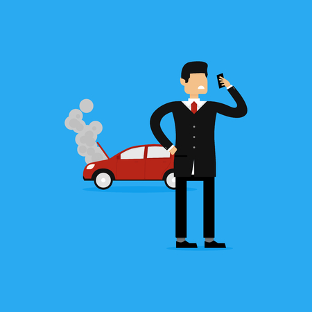 Vector Concept Illustration Of Businessman Calling Insurance Company For Overheat Red Car