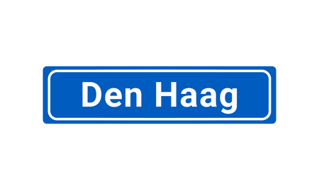 Blue And White Vector City Sign Of Den Haag In The Netherlands  イラスト・ベクター素材