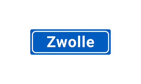 Blue And White Vector City Sign Of Zwolle In The Netherlands  イラスト・ベクター素材