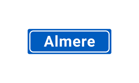 Blue And White Vector City Sign Of Almere In The Netherlands  イラスト・ベクター素材