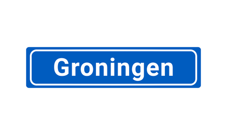 Blue And White Vector City Sign Of Groningen In The Netherlands  イラスト・ベクター素材