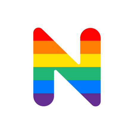 Arco Iris Vector Logo Letra N. N Carta Diseño Vectorial