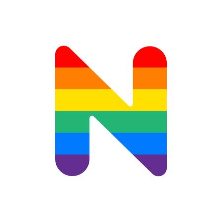 Rainbow Vector Logo Letter N. N Letter Design Vector