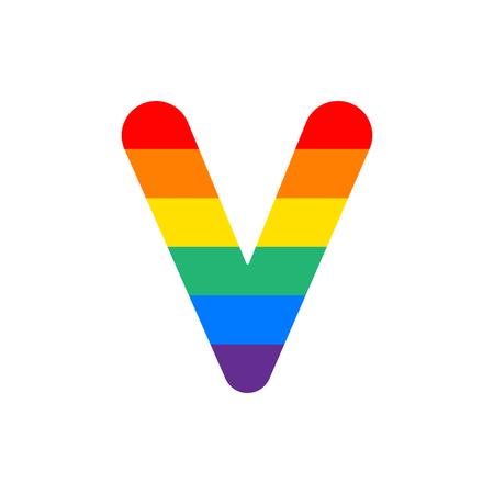 Arco Iris Vector Logo Letra V. V Carta Diseño Vector
