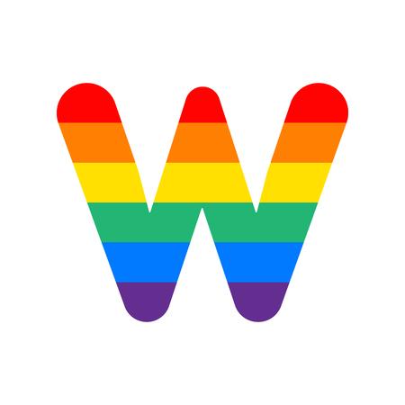Arco iris Vector Logo Letra W. W Carta Diseño Vector