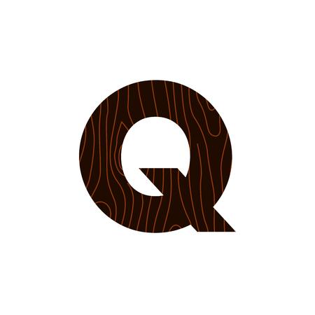 Wooden Vector Logo Letter Q. Q Letter Design Vector 矢量图像