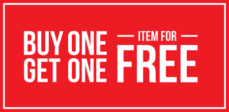 Red Shop Vector Sign For A Buy One Get One Free Off Clearance