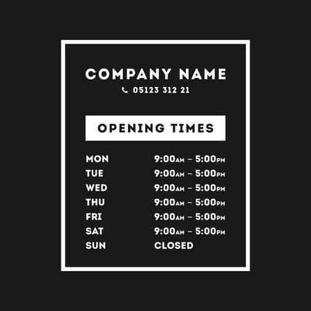 Transparente Vektoröffnungszeit Stunden Fensteraufkleber Einzelhandel