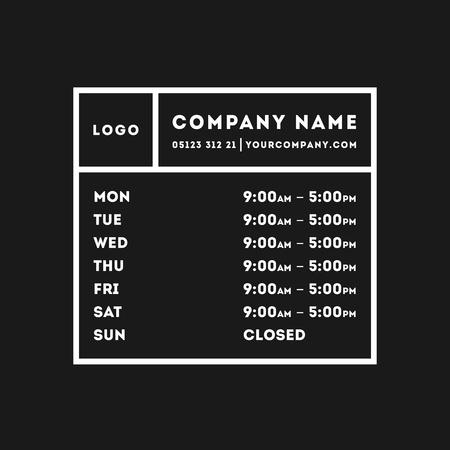 Transparent Vector Opening Time Hours Window Sticker Retail Stock Illustratie