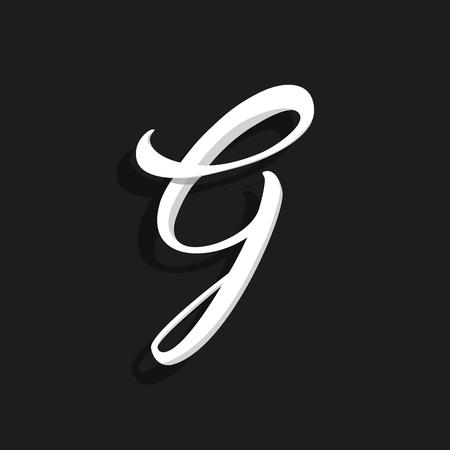 Hand Written Vector Logo Letter G. G Letter Design Vector