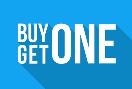 Blauwe winkel Vector teken voor een koop één, krijg één gratis korting op de uitverkoop in de winter