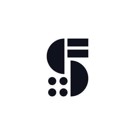 Vector Logo Letter S.S Brief Design Vector strepen vierkanten en cirkels.
