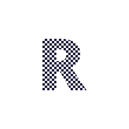 R Checker Pattern Letter Logo Design. Black And White Checkered Logo Letter Icon Vector Design. Ilustrace