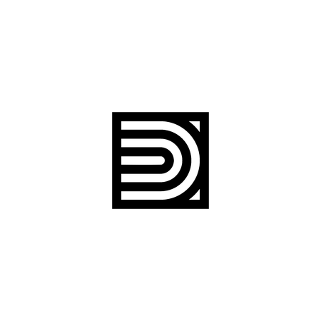 Line Vector Logo Letter D. D Letter Design Vector Lines  イラスト・ベクター素材