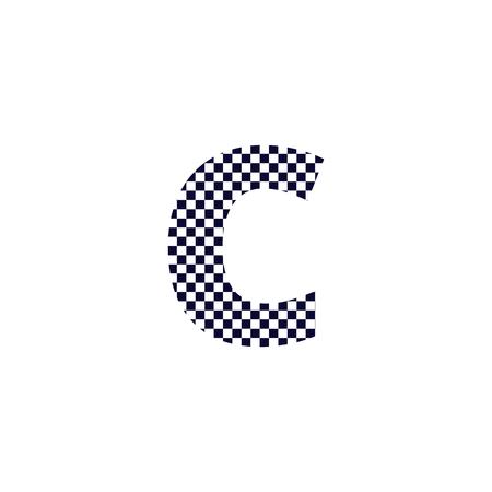 Création de Logo de lettre de motif de damier C. Conception de vecteur d'icône de lettre de logo à carreaux noir et blanc. Logo