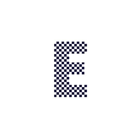 E Checker Pattern Letter Logo Design. Black And White Checkered Logo Letter Icon Vector Design.