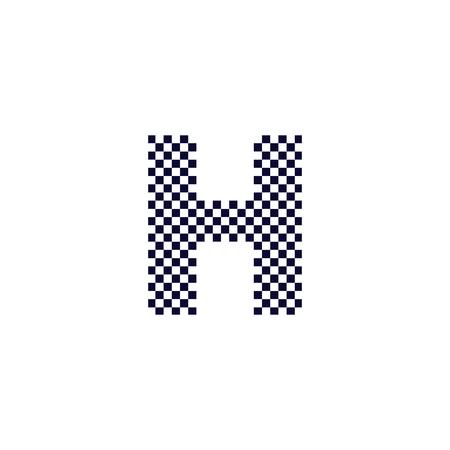 Conception De Logo De Lettre De Motif De Checker H. Conception de vecteur d'icône de lettre de logo à carreaux noir et blanc. Logo
