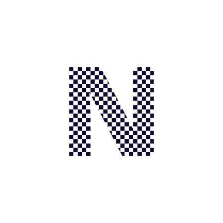 Création de Logo de lettre de motif de damier N. Conception de vecteur d'icône de lettre de logo à carreaux noir et blanc.