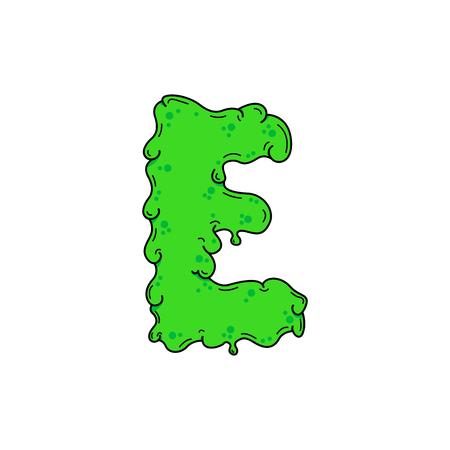 Slimy Vector Logo Letter E. Slime Snot E Letter Design Vector Illustration