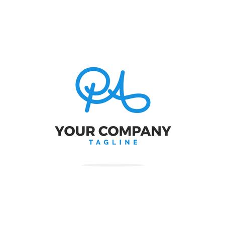 Blue P A Vector Logo. Line Logo Illustration.