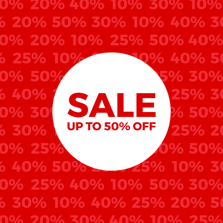 Red Vector Sale Poster. Up To 50% Off Sign. Sale Background Backdrop.