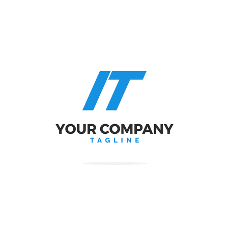Premium Vector IT Logo In Blue. Beautiful Logotype Design For Tech IT Company Branding. Modern Corporate Identity Design In Blue.
