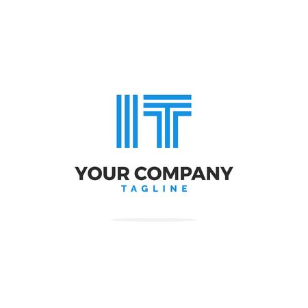 Logo Informatique Vectoriel Premium En Bleu. Belle conception de logo pour l'image de marque de l'entreprise Tech IT. Conception d'identité d'entreprise moderne en bleu. Logo