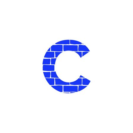 Bricklayer Vector Logo Letter C. C Letter Design Vector
