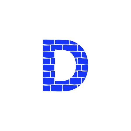 Bricklayer Vector Logo Letter D. D Letter Design Vector