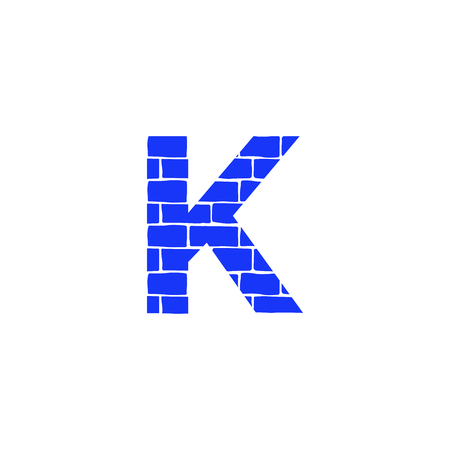 Bricklayer Vector Logo Letter K. K Letter Design Vector 矢量图像