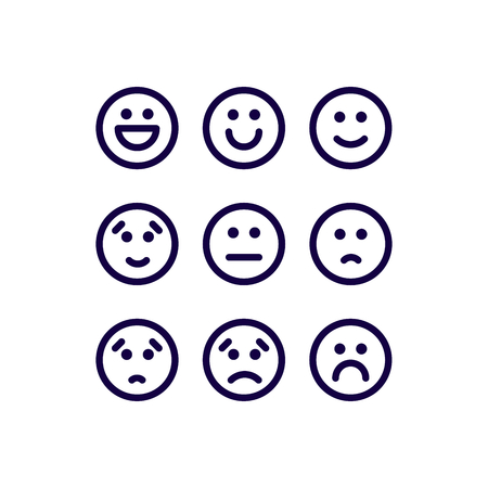 Icons Satisfaction Level. Range feedback in emotion level. Vector Icons. Excellent, good, normal, bad, awful.  イラスト・ベクター素材