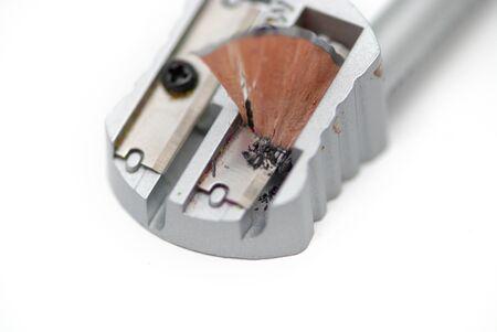 shavings: A pensil shavings on the white background