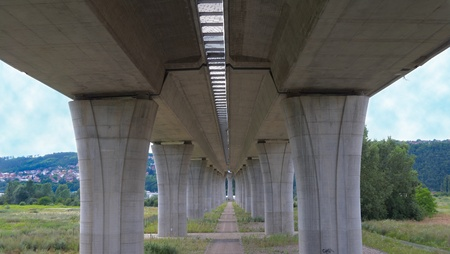 Ahigh way bridge. A concrete columns. photo