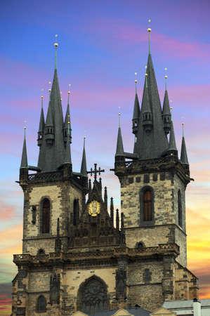 tyn: Tyn Church in Prague at sunset