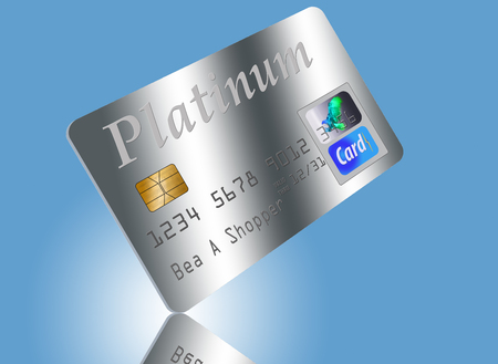 platinum: Platinum card on edge on blue background. Stock Photo