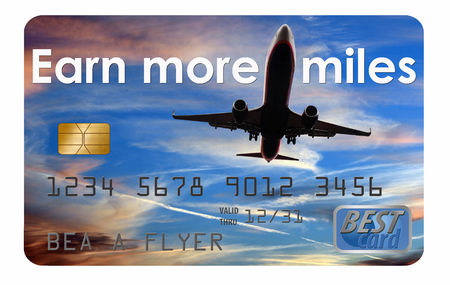 This is a generic air miles reward credit card illustration. Foto de archivo